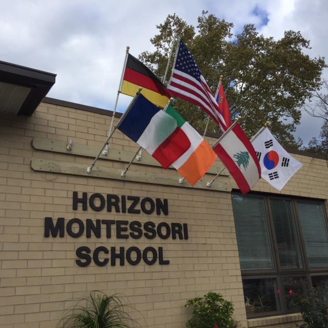 Horizon Montessori School with flags