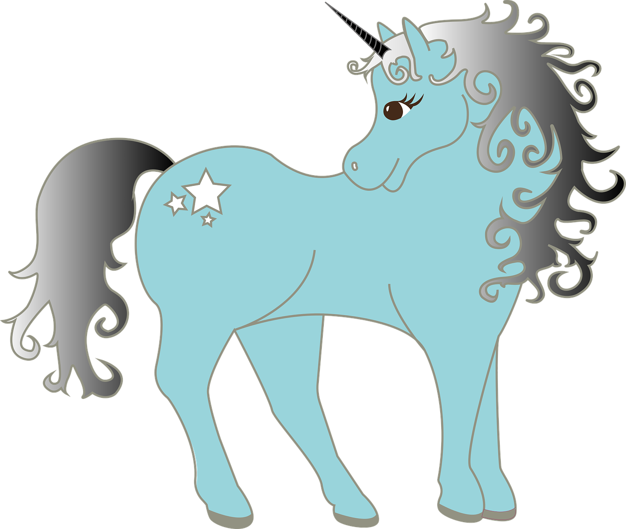 A drawing of a blue unicorn